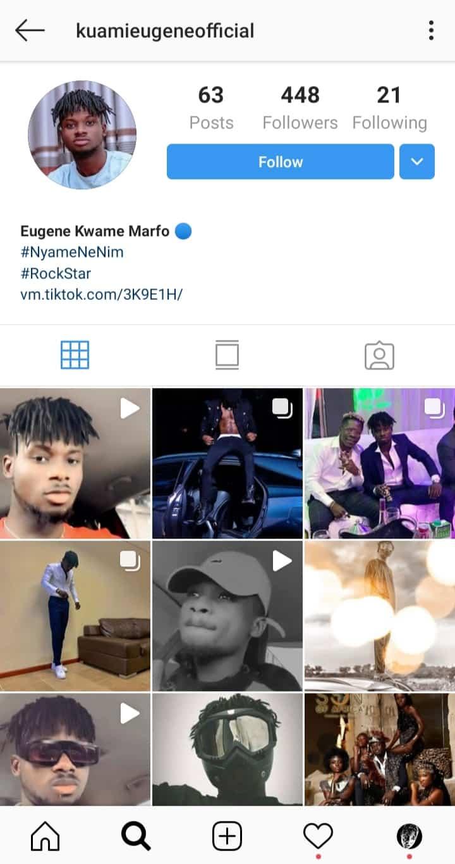 Fake Kuami Eugene Instagram Account