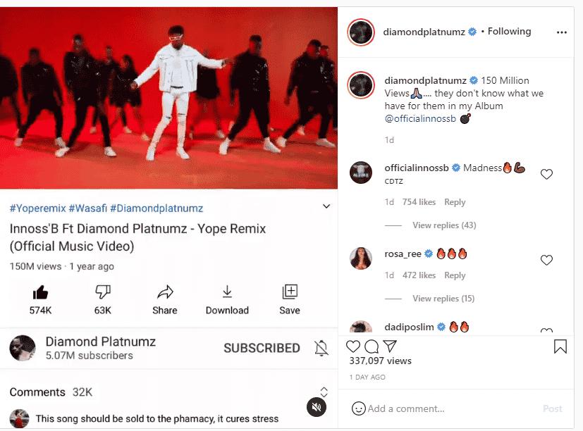 Diamond's 'Yope remix' hits 150 million views