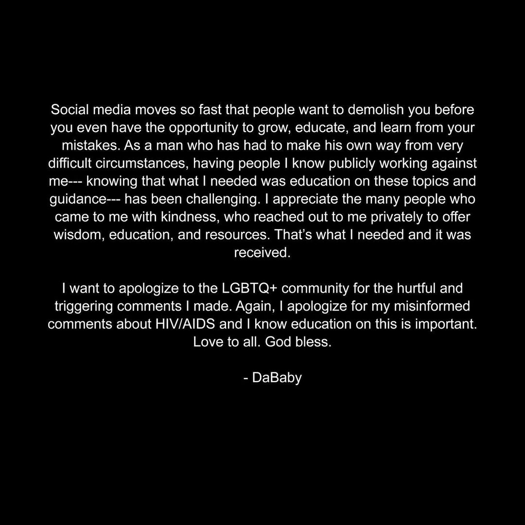 DaBaby apologizes to the LGBTQ+ community